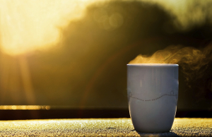 A glorious cup of warm coffee on a misty sun-kissed morning.
